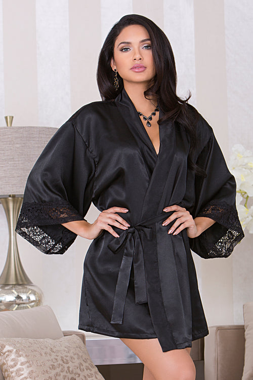 Black Satin Robe with Peek-A-Boo Back icollection 7829 F