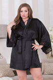 Black Satin Robe with Peek-A-Boo Back icollection 7829X F