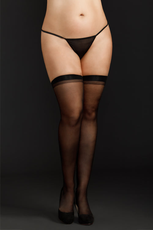 Sheer Thigh Highs by iCollection Lingerie 8600X-BLAC-F