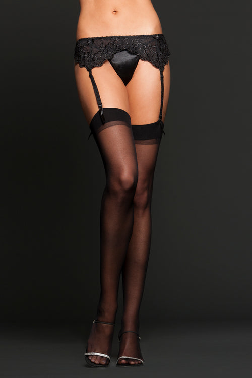Sheer Thigh Highs by iCollection Lingerie 8600-BLAC-F