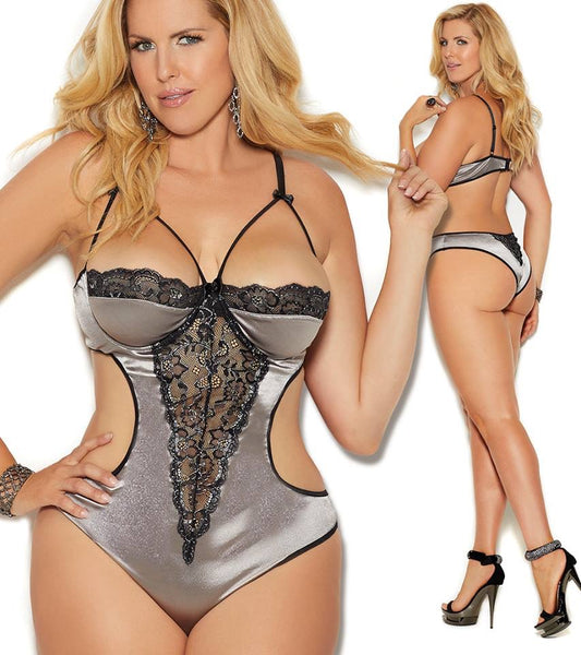 Satin Demi Cup Teddy Plus Size Elegant Moments 7262