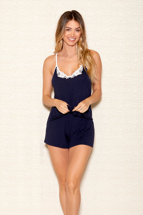 Soft Navy Blue Camisole Short Set Icollection 7803