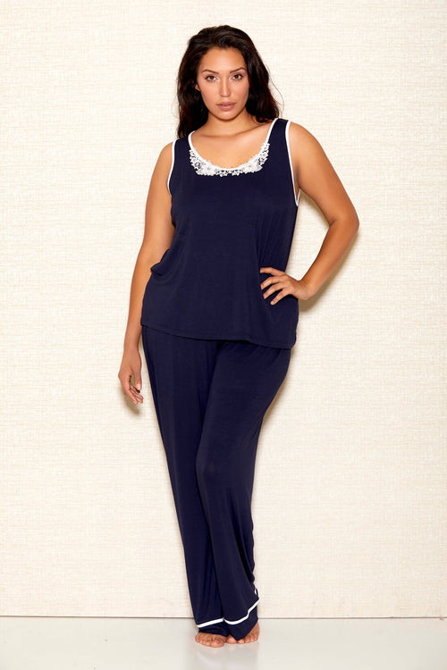 Soft Navy Blue Camisole and Pant Set ICollection Plus Size 7805X
