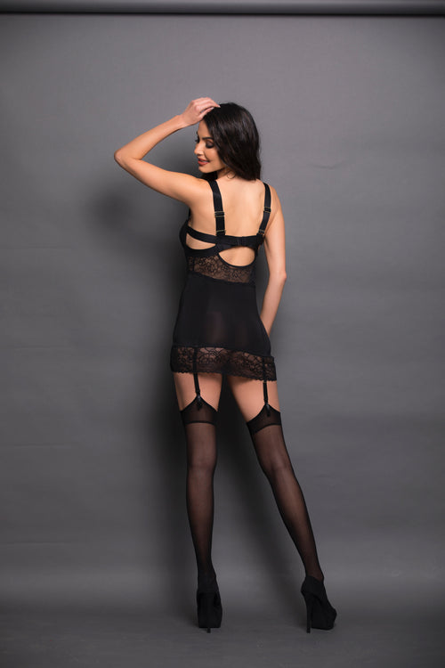 Black Lace Bustier Back Escante 35707