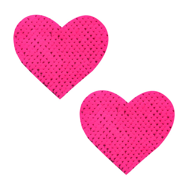 pink sequin heart pasties waterproof nipztix