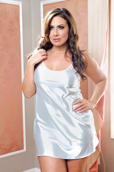 Satin Chemise by iCollection 7916X-WHIT-F