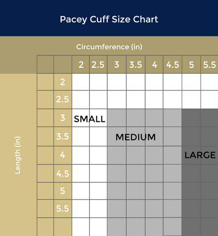 US Size Chart for Pacey Cuff ™