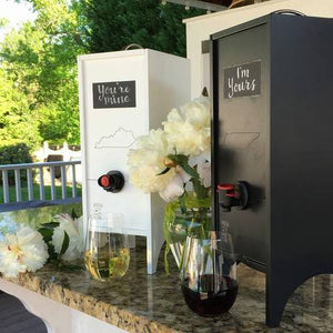 A Trio of Wine Nook Dispensers - red, white, and black