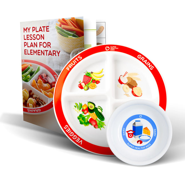 MyPlate Divided Kids Plate with Dairy Bowl and Elementary Lesson Plan