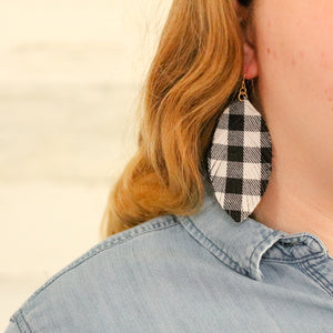 Buffalo Check Feather Earrings
