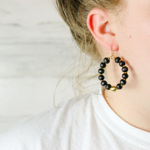 Beaded Leopard Hoops