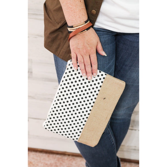 Polka Dot Canvas Clutch