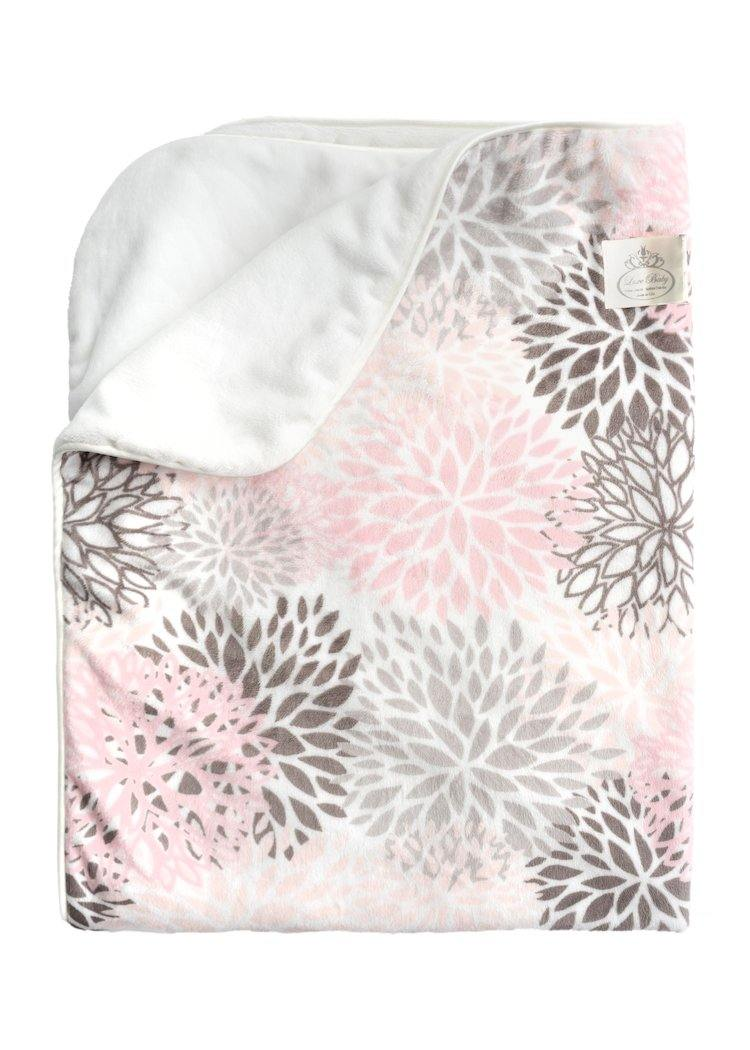 Plush Velboa Luxe Baby Blanket - Blossoms-Pink/Silver Grey - Shop baby blankets, baby shower gifts, newborn baby clothes & more..