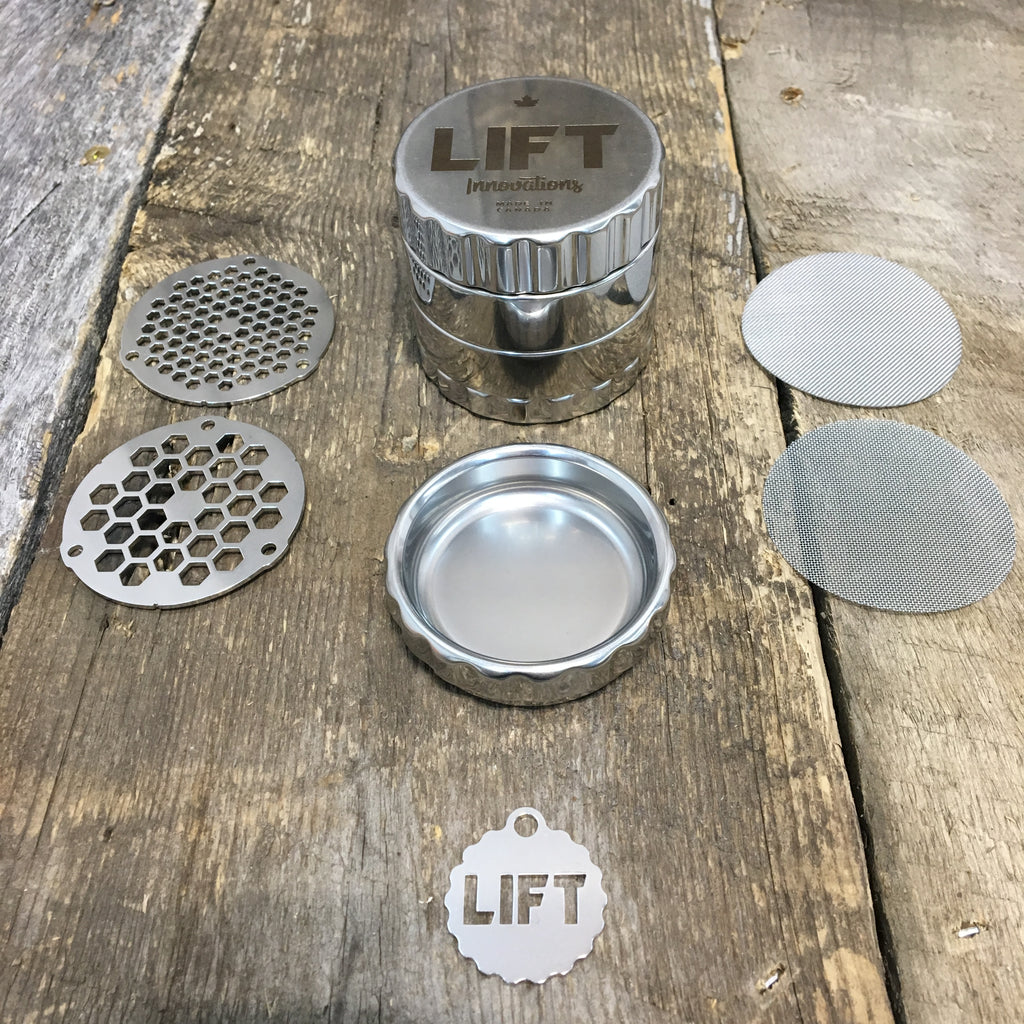 4 Piece STAINLESS STEEL Grinder with Accessories PRE-ORDERS open NOW Delivery expected between May and July 2020