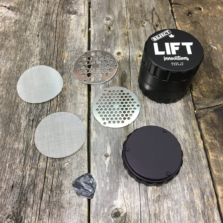 ***REJECT*** 4 Piece BLACK Grinder With Accessories LIFETIME WARRANTY Made with parts that have a scratch, dent or off color
