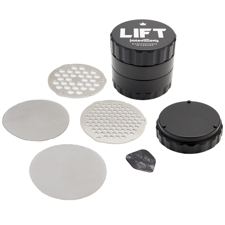 4 Piece BLACK Grinder with Accessories PRE-ORDER for shipping on September 25, 2020