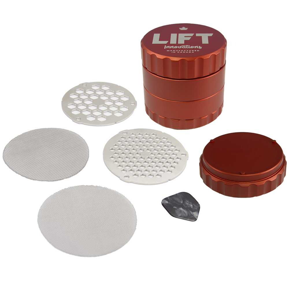 4 Piece RED Grinder with Accessories PRE-ORDER estimated shipping date September 26th, 2019