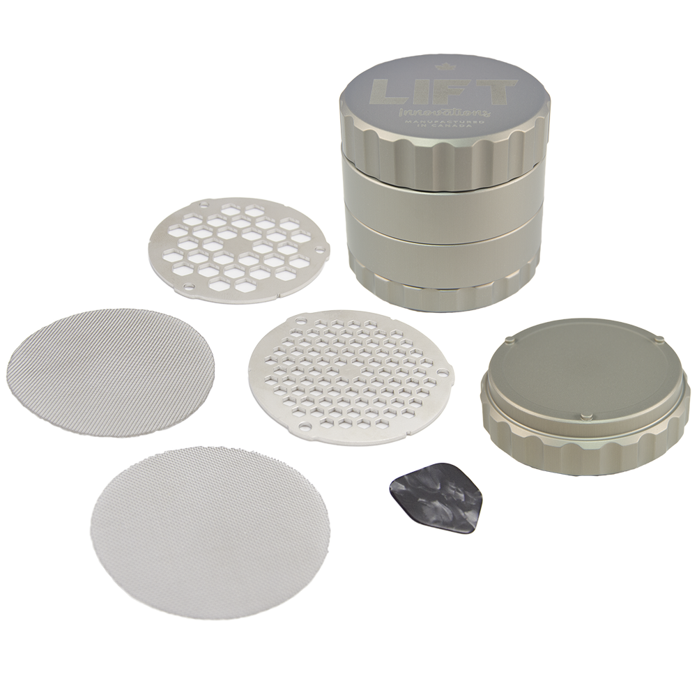 4 Piece SILVER Grinder with Accessories PRE-ORDER for shipping on November 6th, 2020 (we need some time to catch up on backorders)