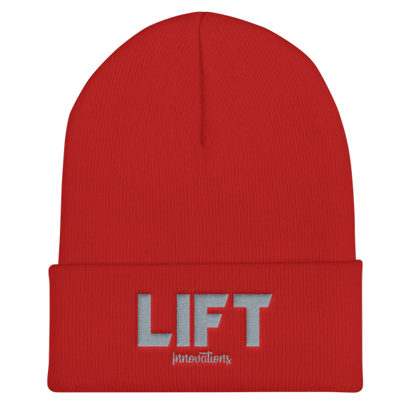 Cuffed Embroidered Beanie (RED) FREE SHIPPING to Canada