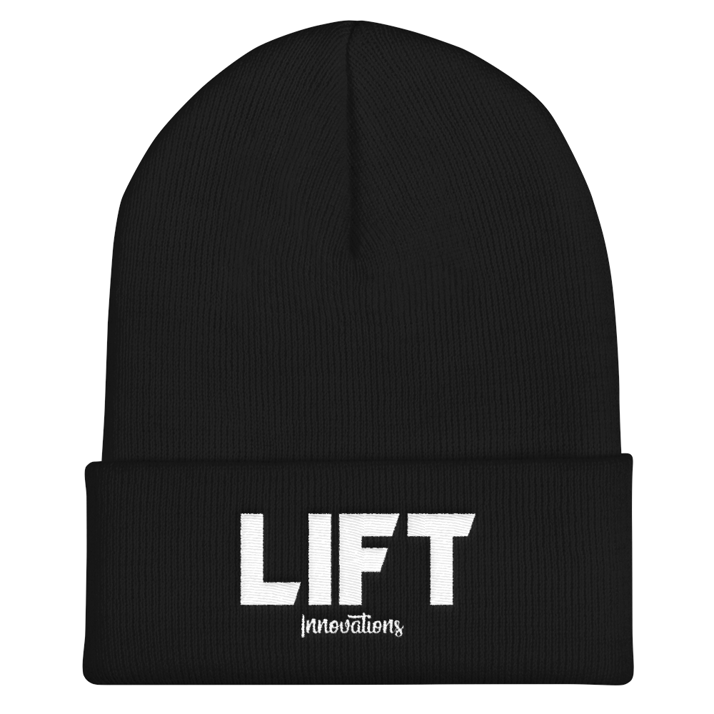 Cuffed Embroidered Beanie (BLACK) FREE SHIPPING to Canada