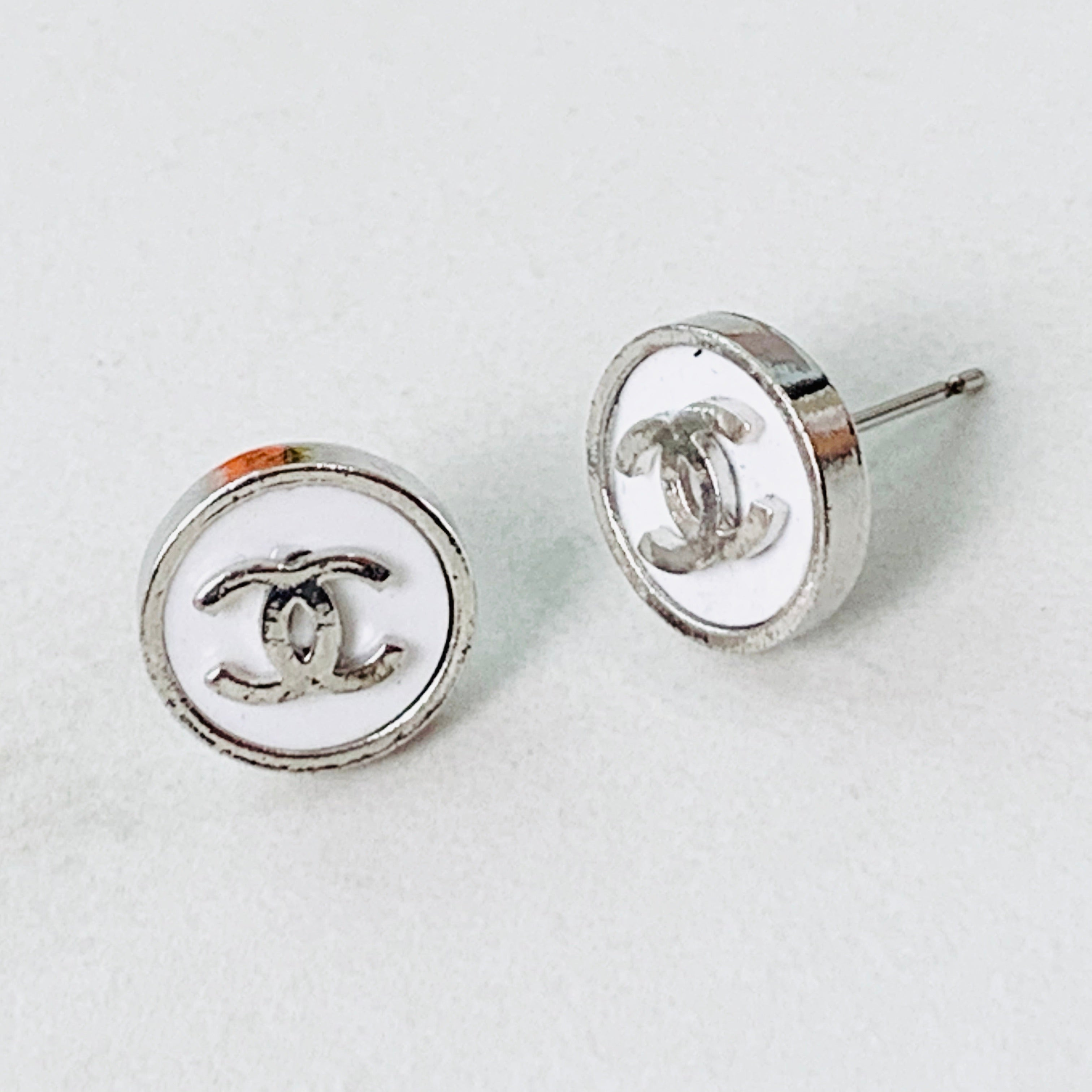 CC White Button Earrings