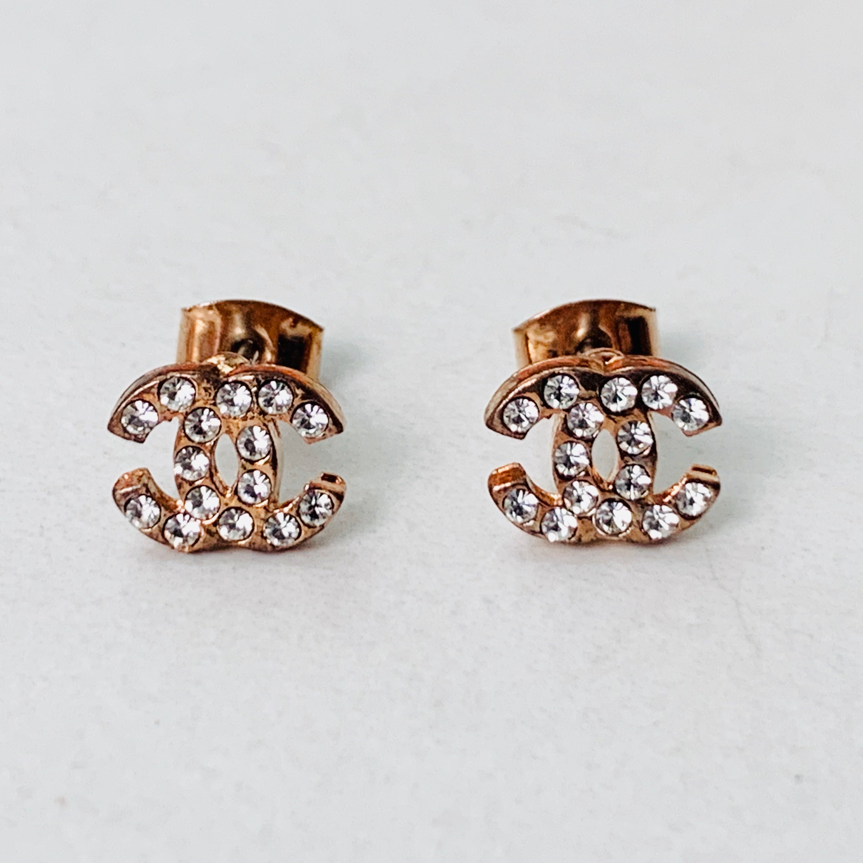 CC Rose Gold Stud Earrings