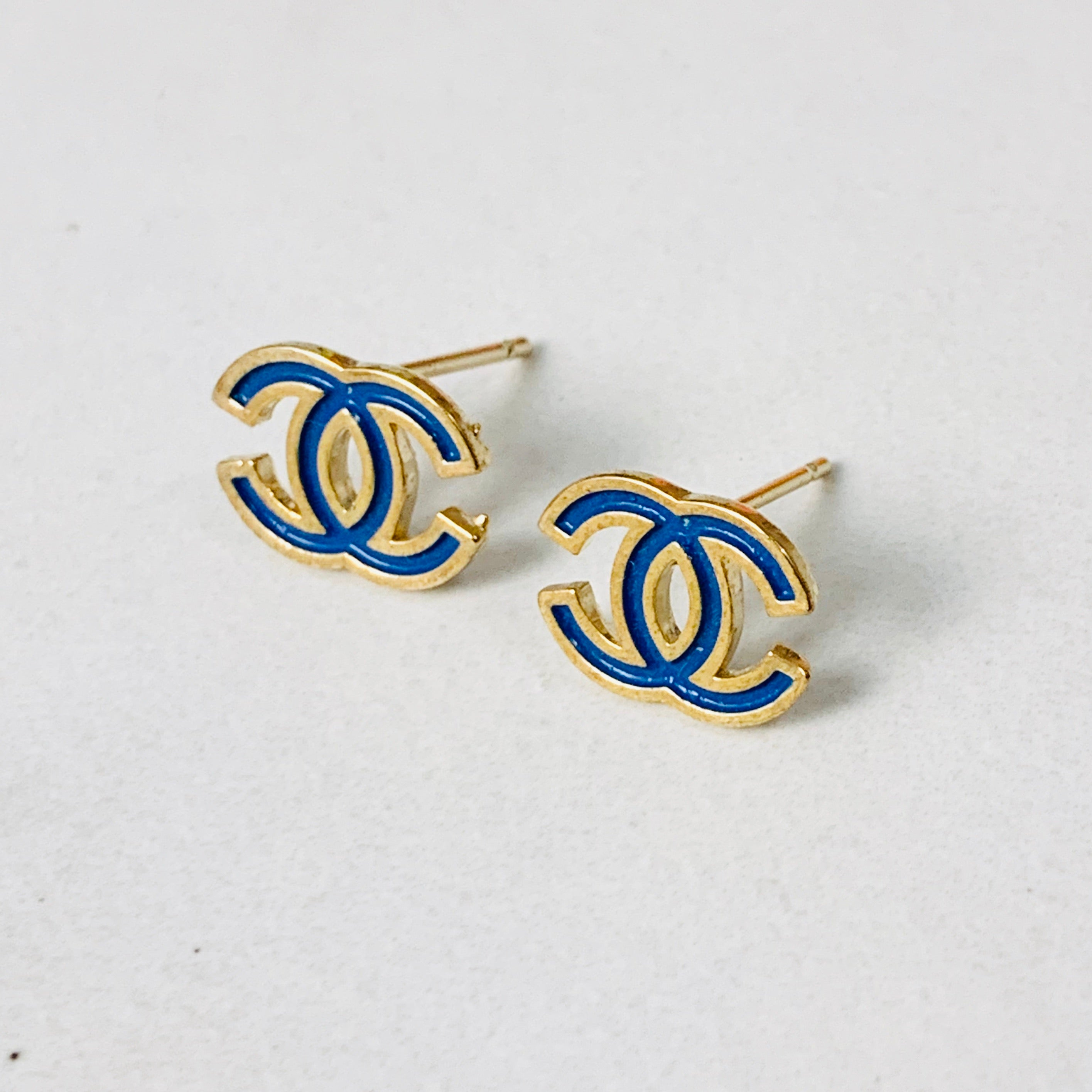 CC Blue/Gold Stud Earrings