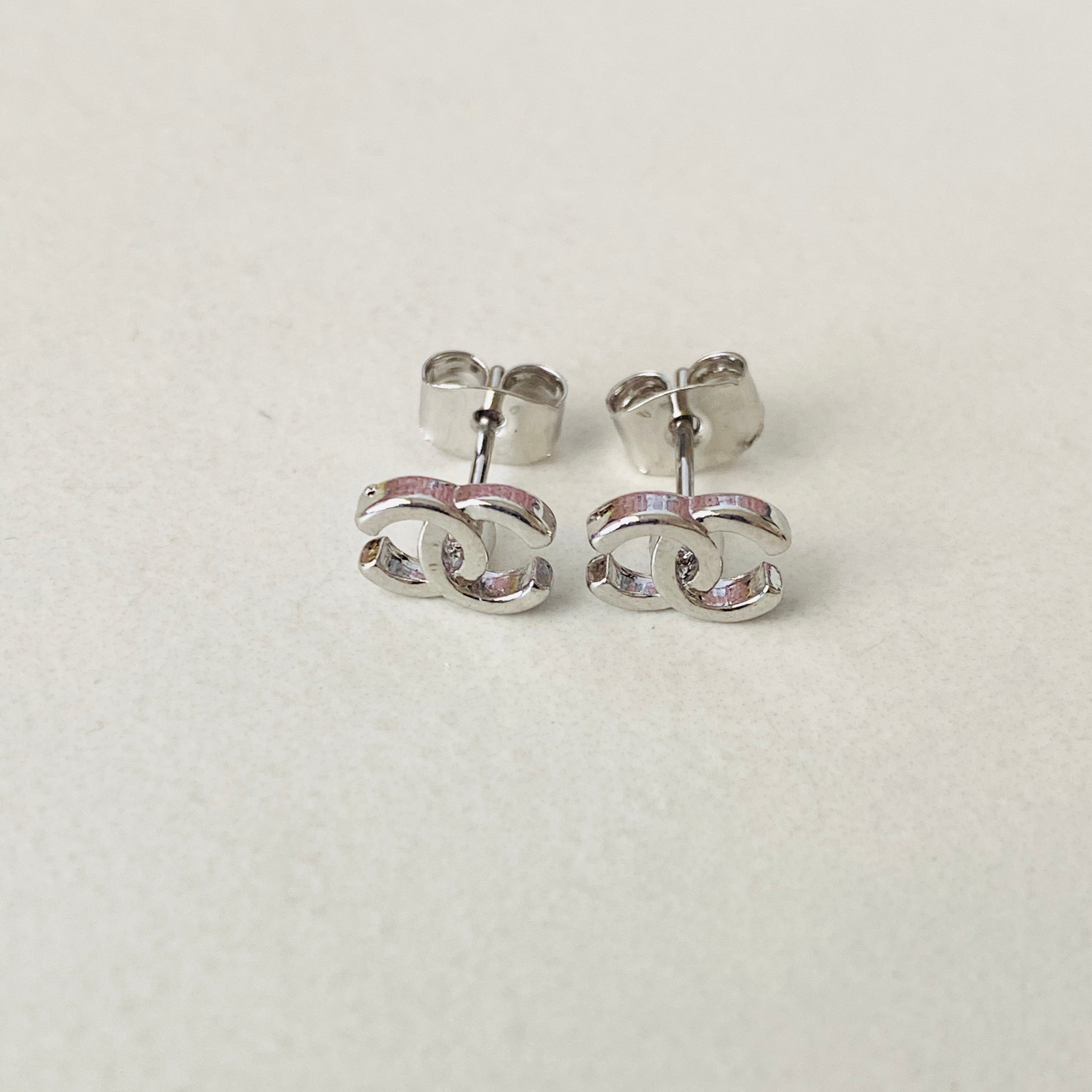 CC Small White Stud Earrings