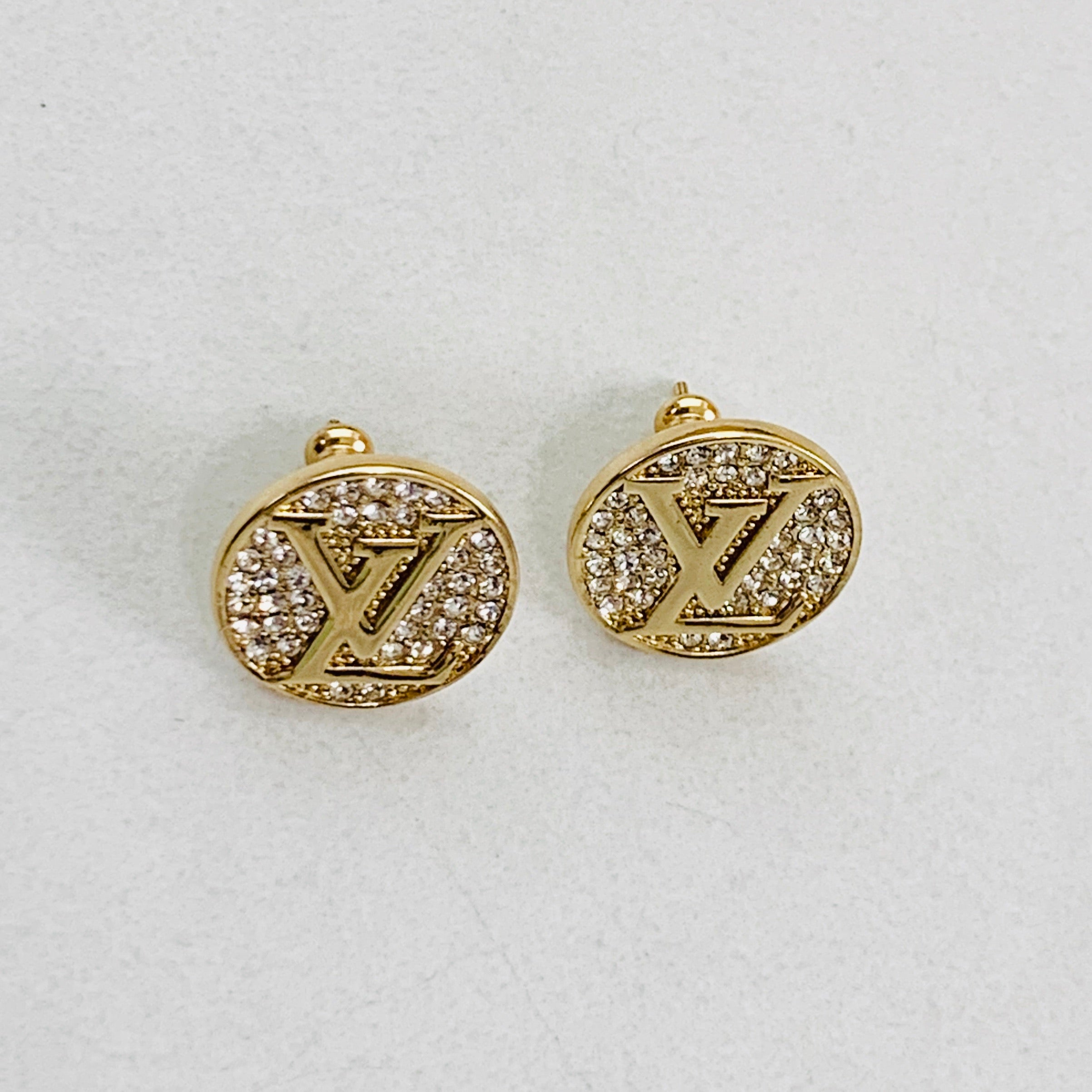 LV Gold Crystal Stud Earrings