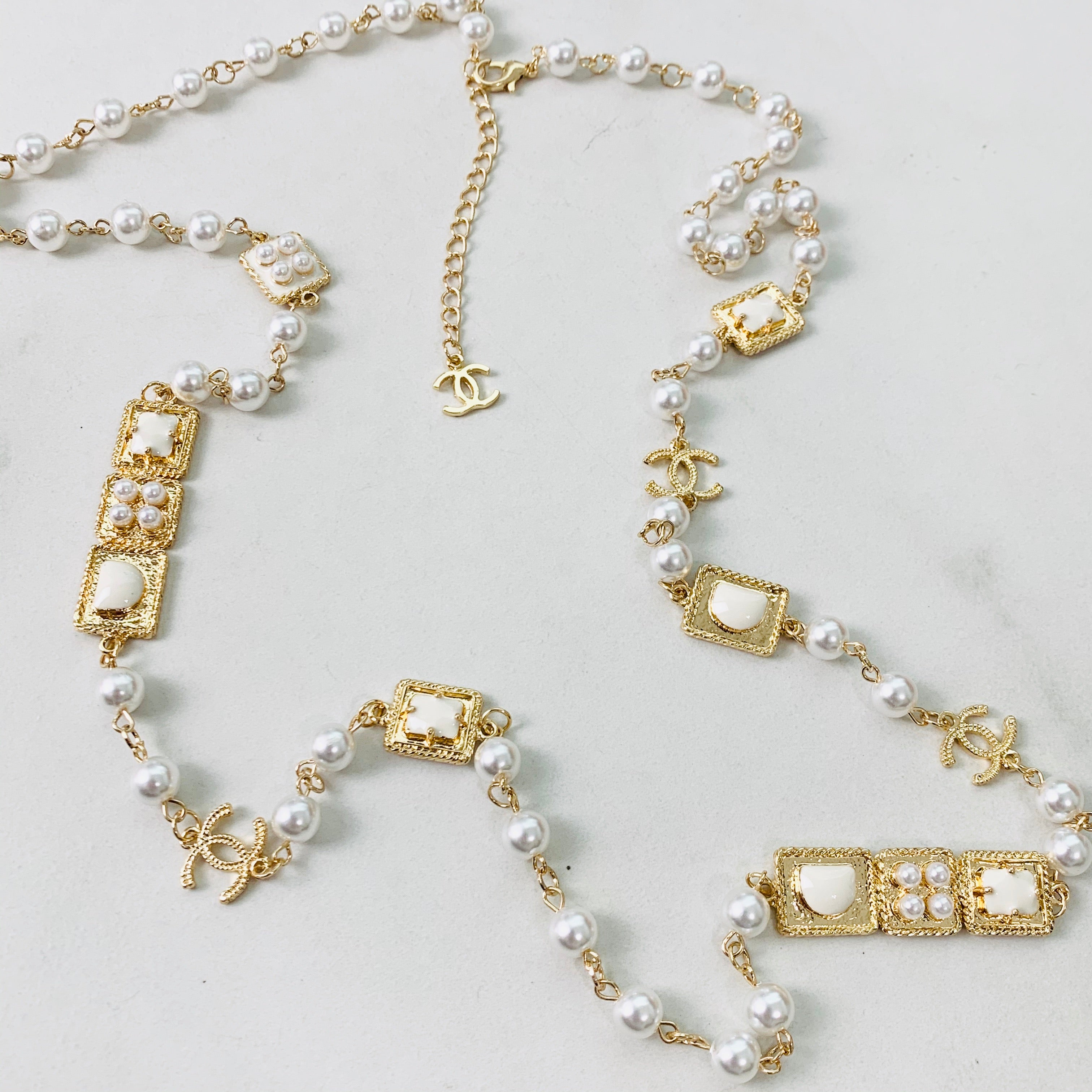 CC Gold Pearl Necklace 44""