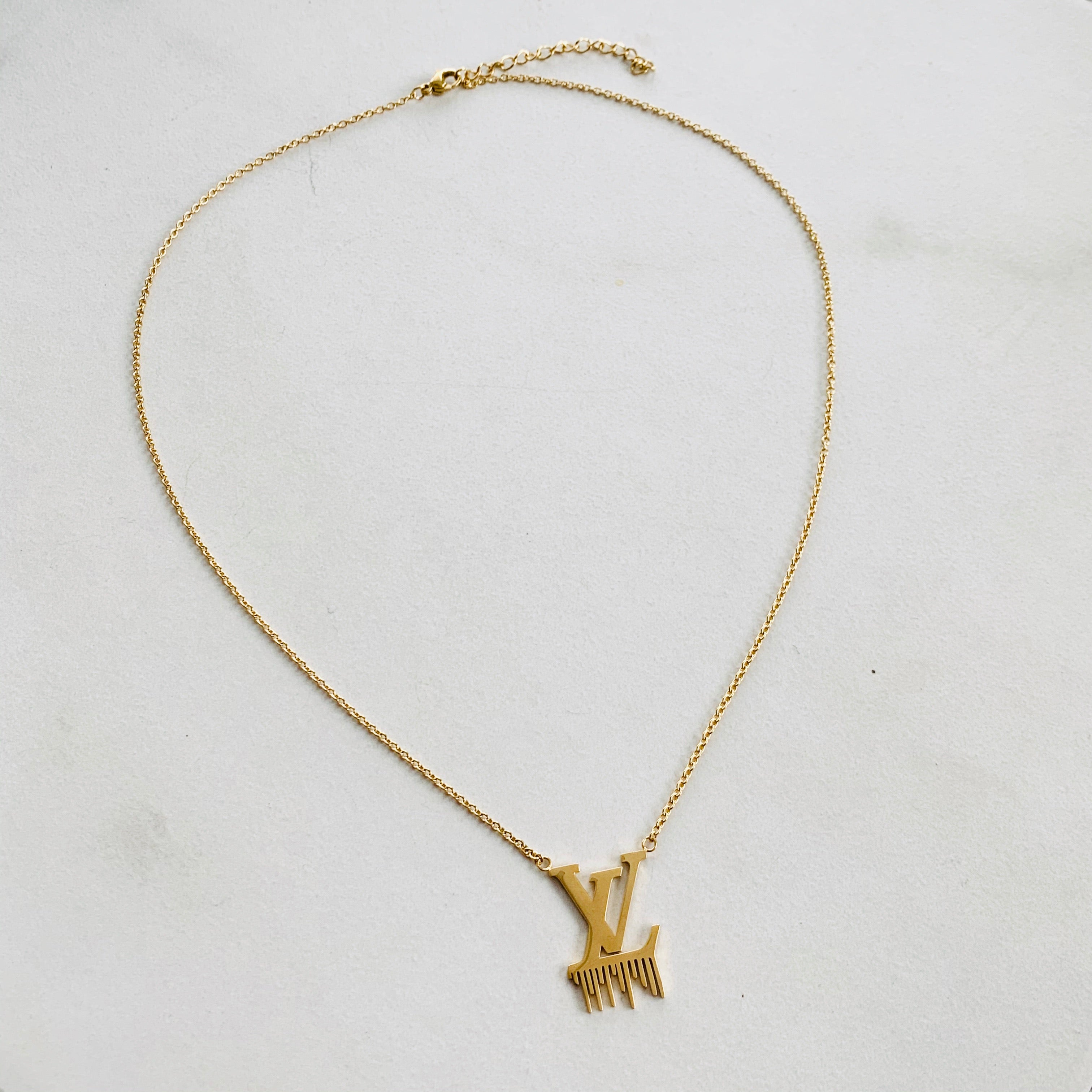 LV Gold Drip Pendant Necklace