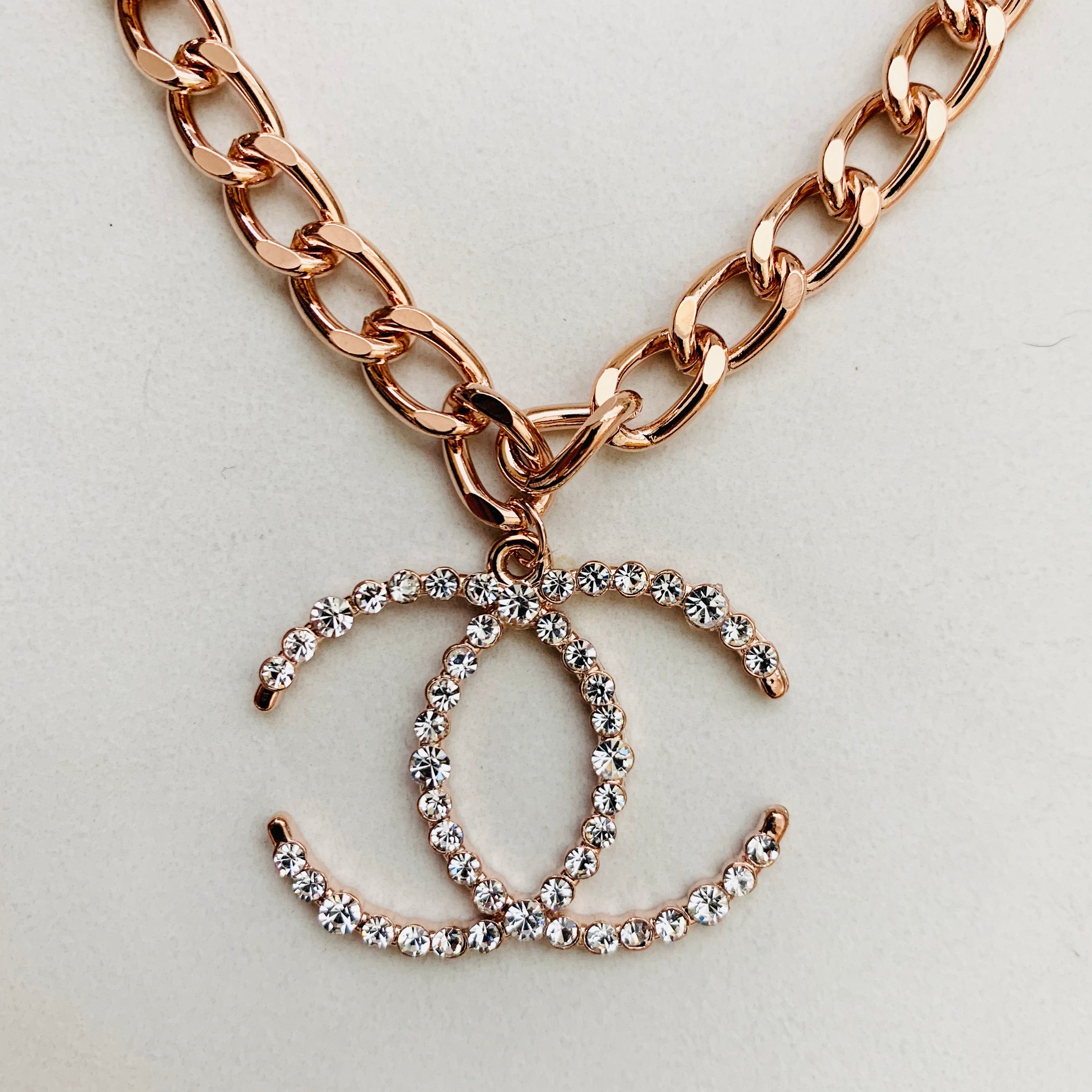 CC Rose Gold Cuban Link Necklace Crystal