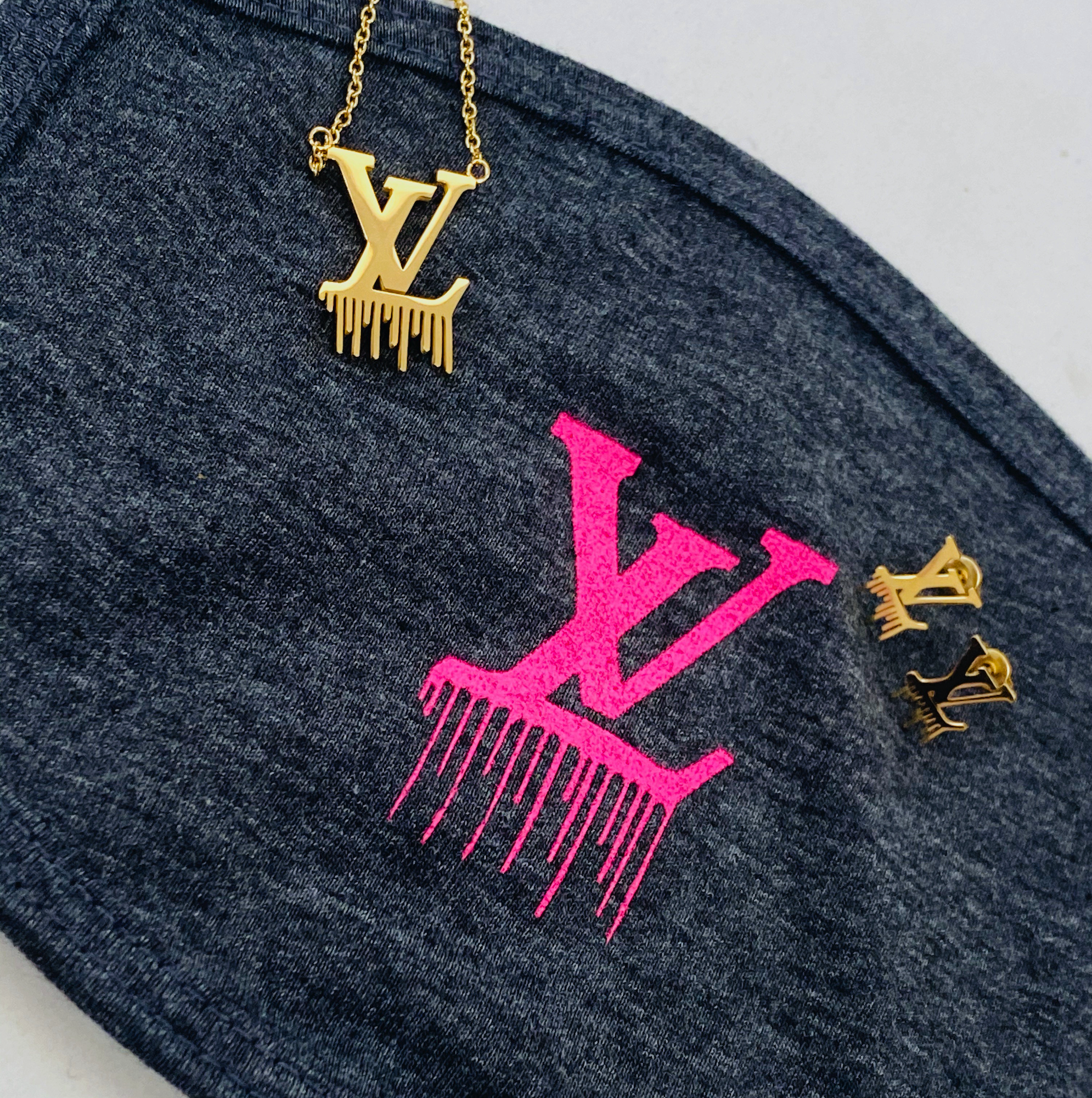 LV Gold Drip Jewelry + Mask Set