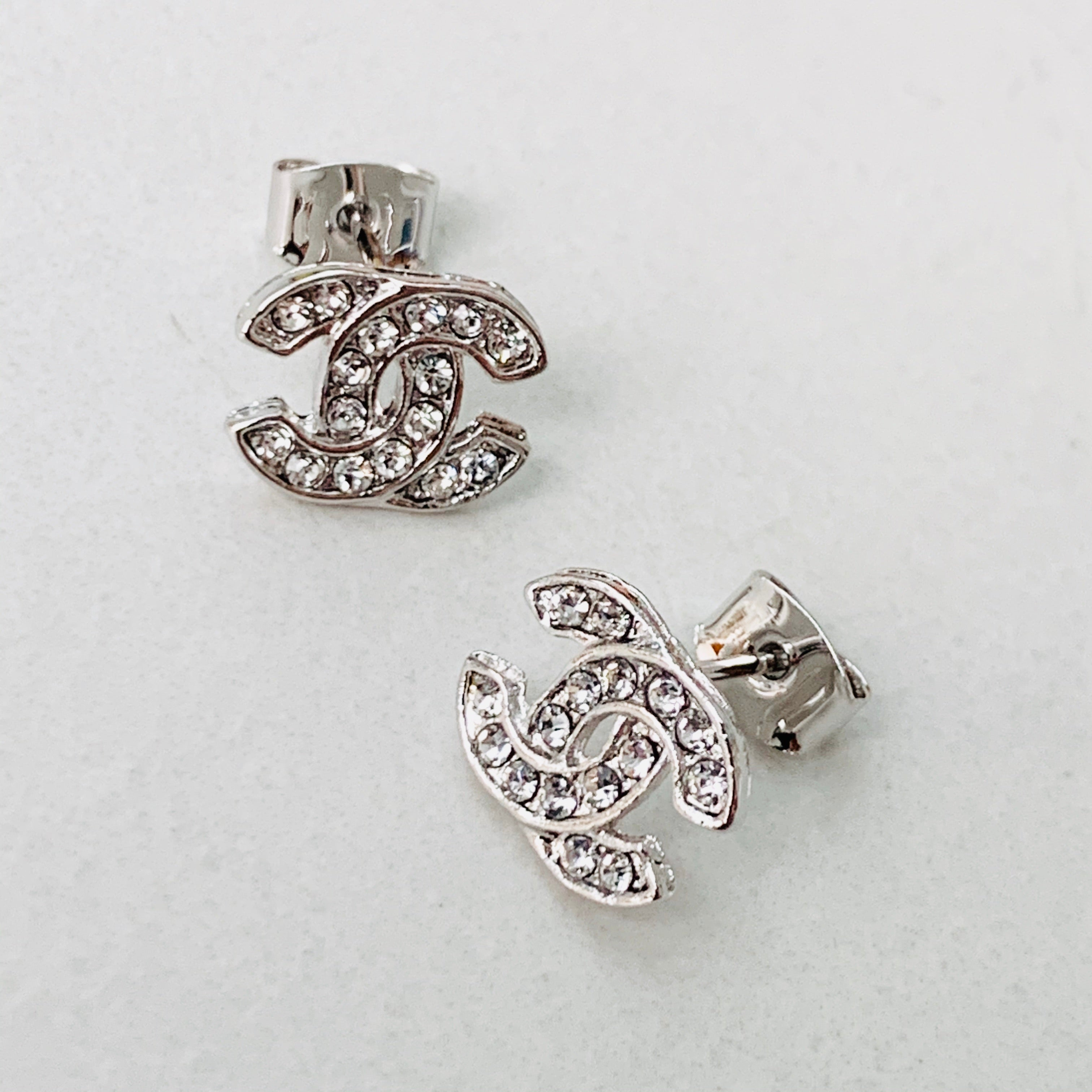 CC White Gold Crystal Stud Earrings