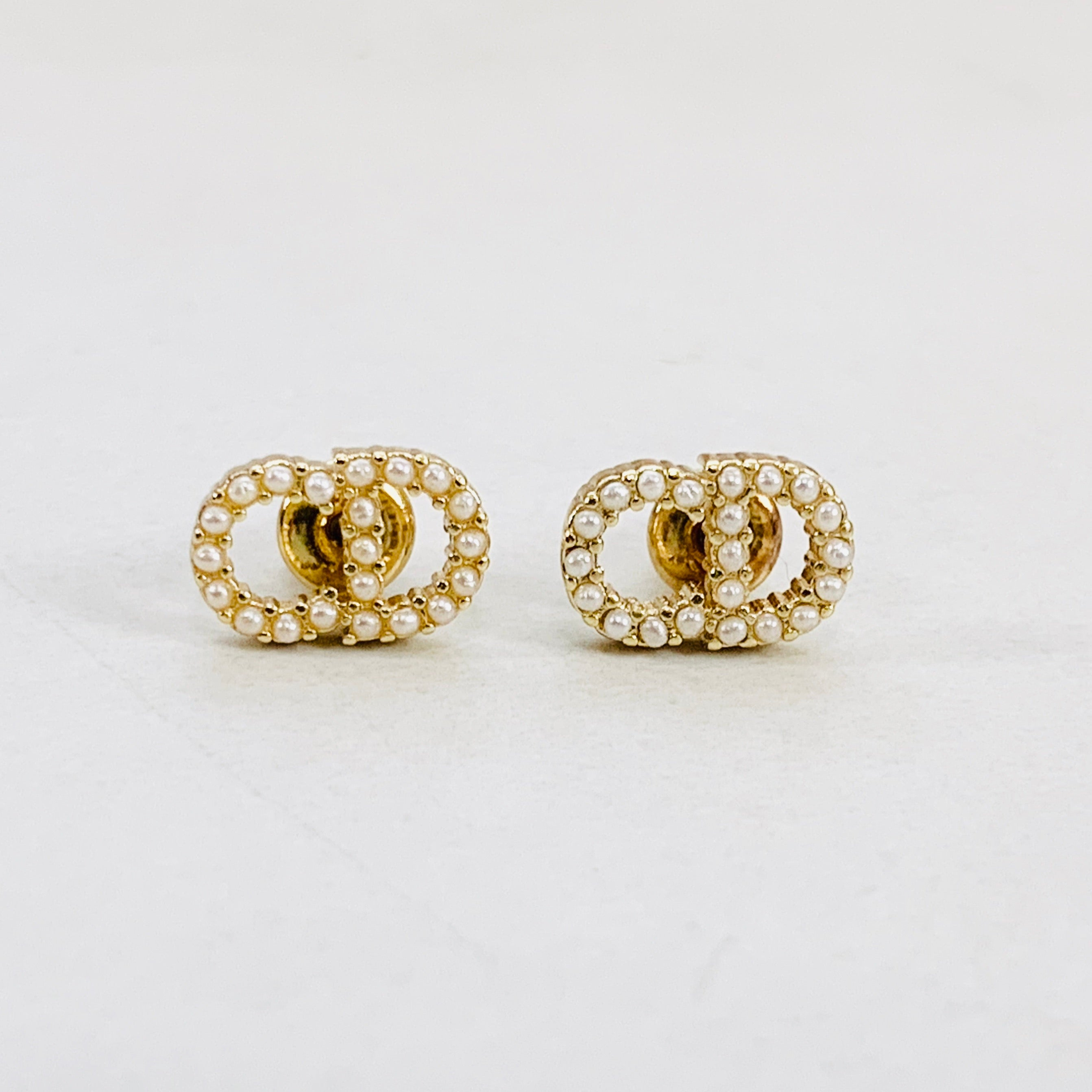 CD Small Gold Pearl Stud Earrings