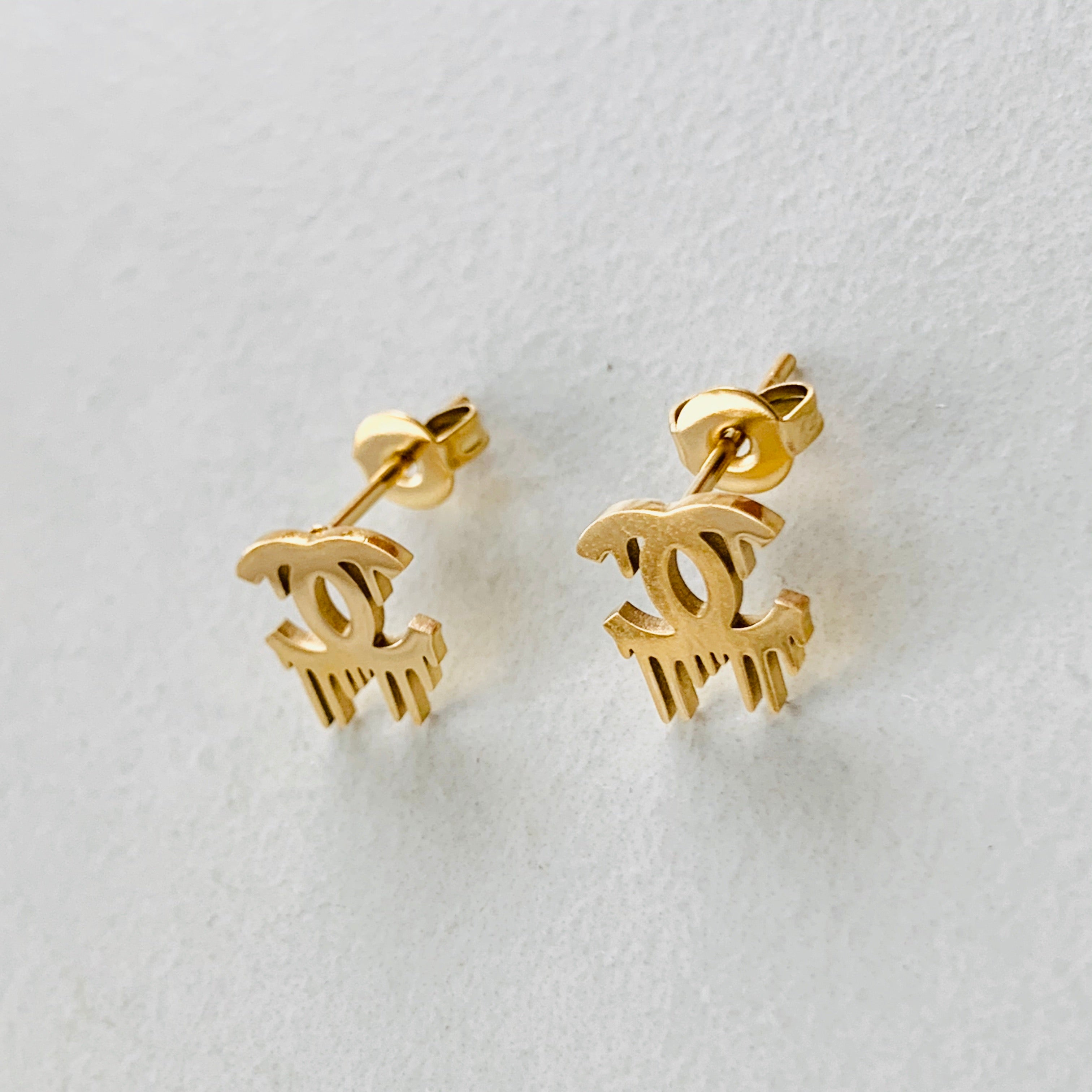 CC Gold Drip Stud Earrings