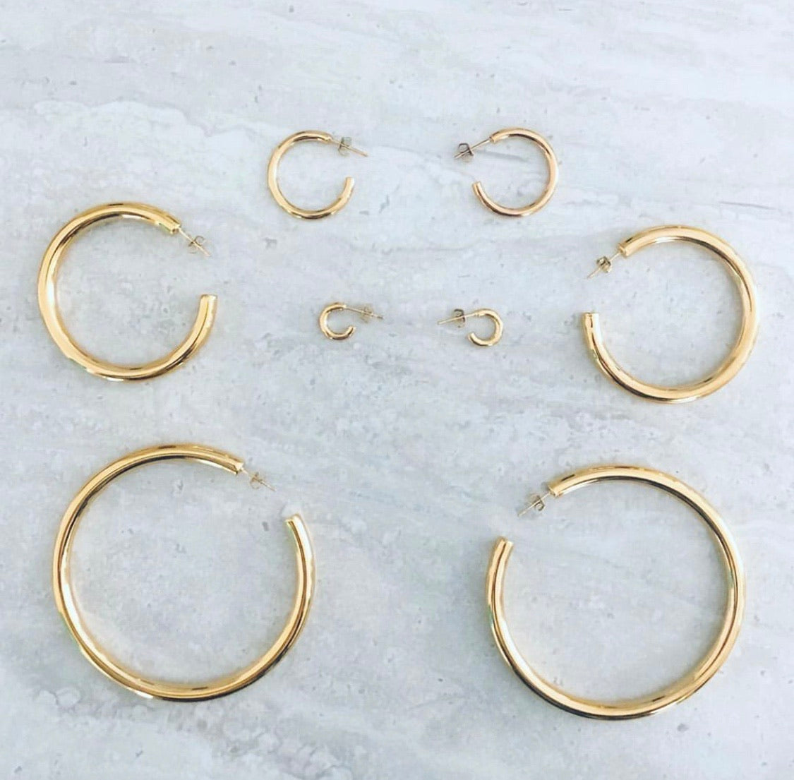 Hailey Hoops - Yellow Gold Set