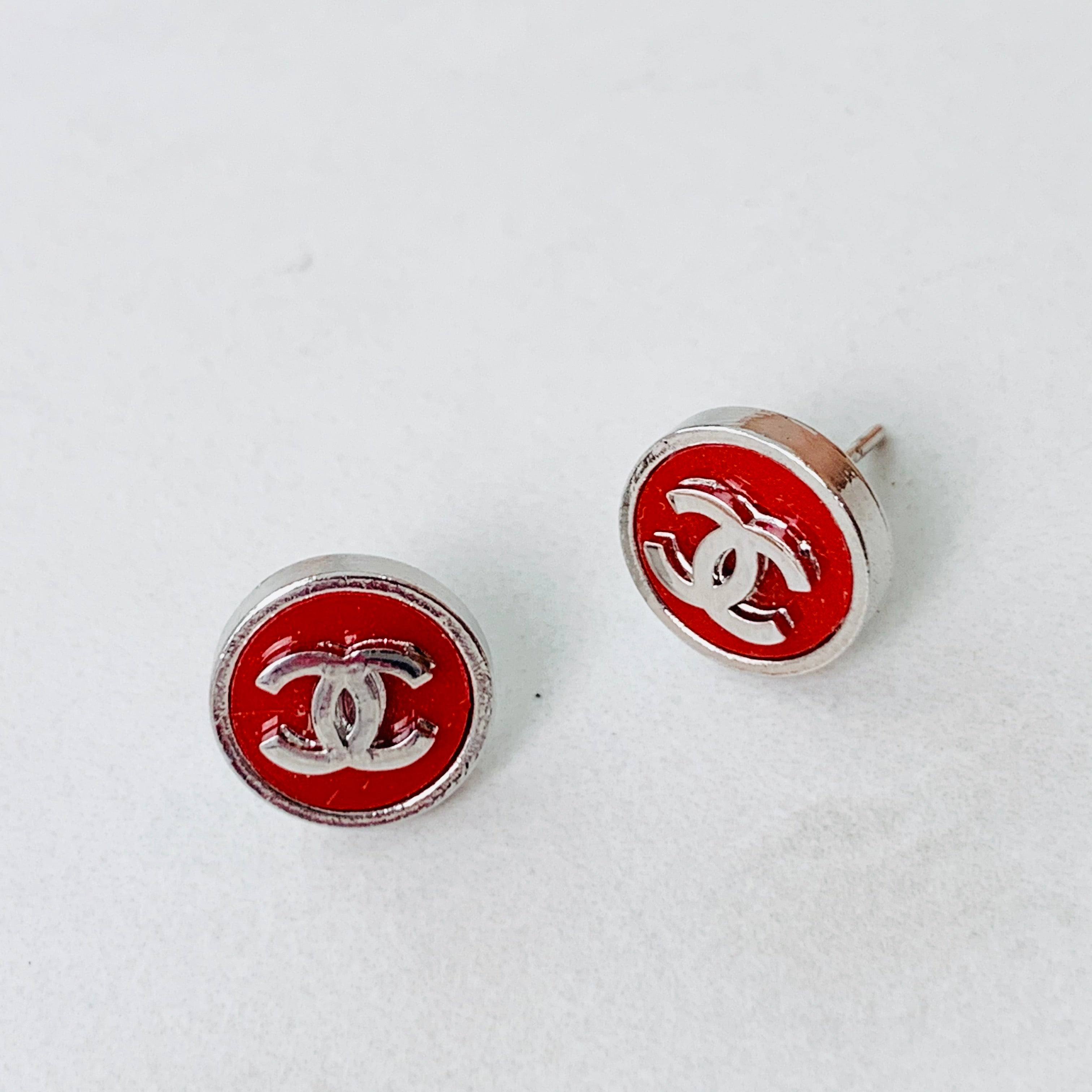 CC Red Button Earrings