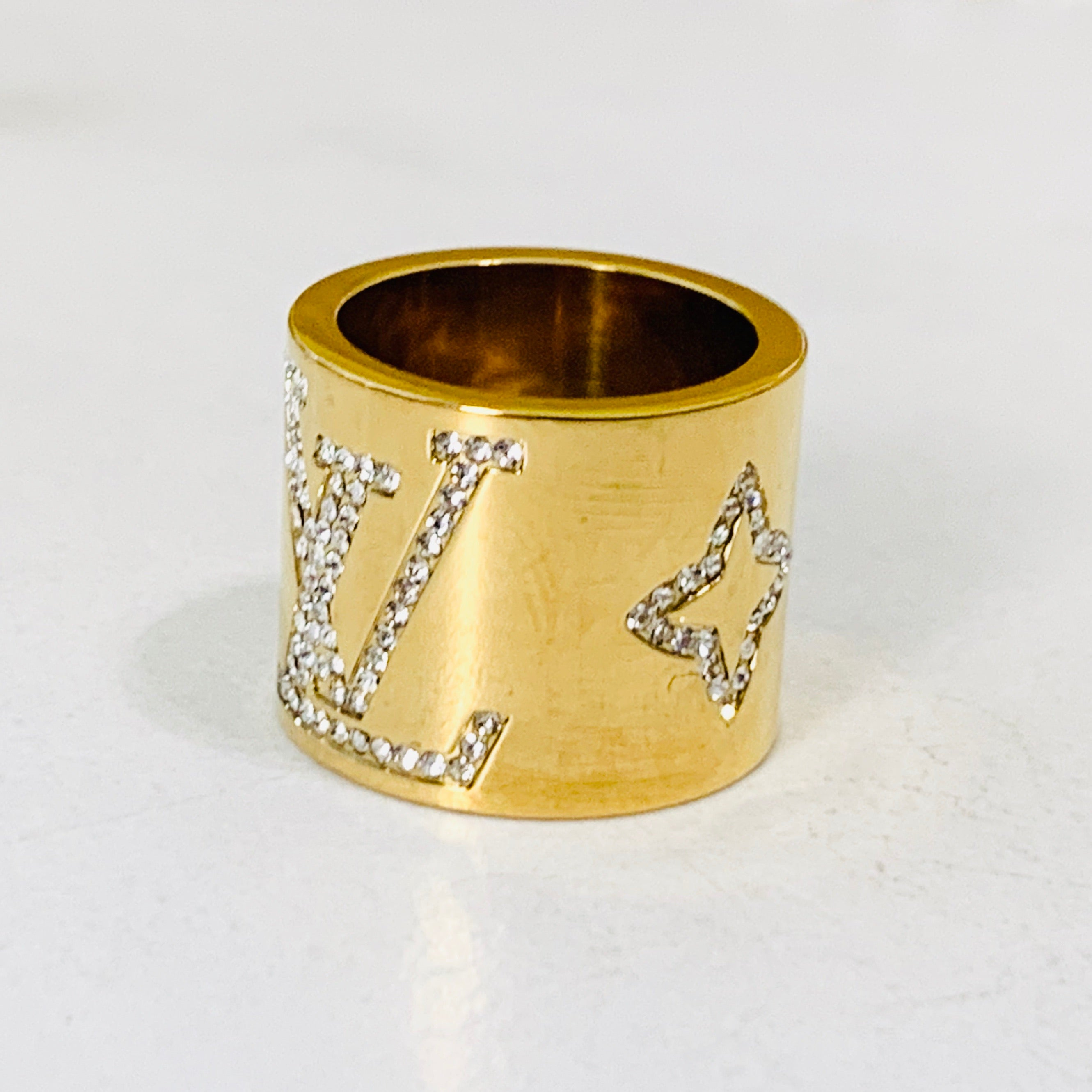 LV Gold Crystal Ring