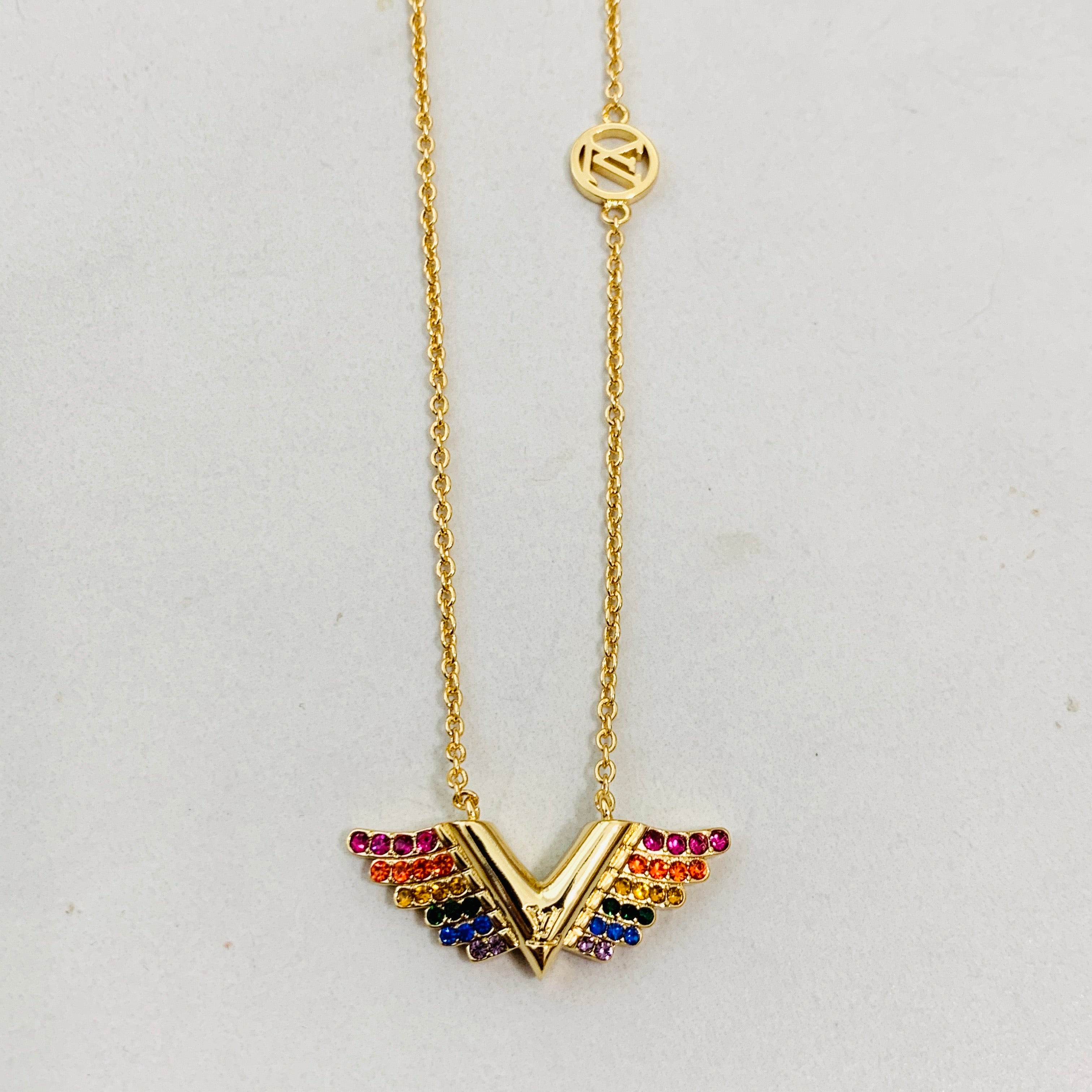 LV Gold Wing Necklace
