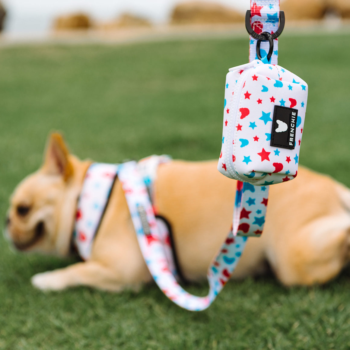 Frenchie Poo Bag Holder- Red, White & Frenchie