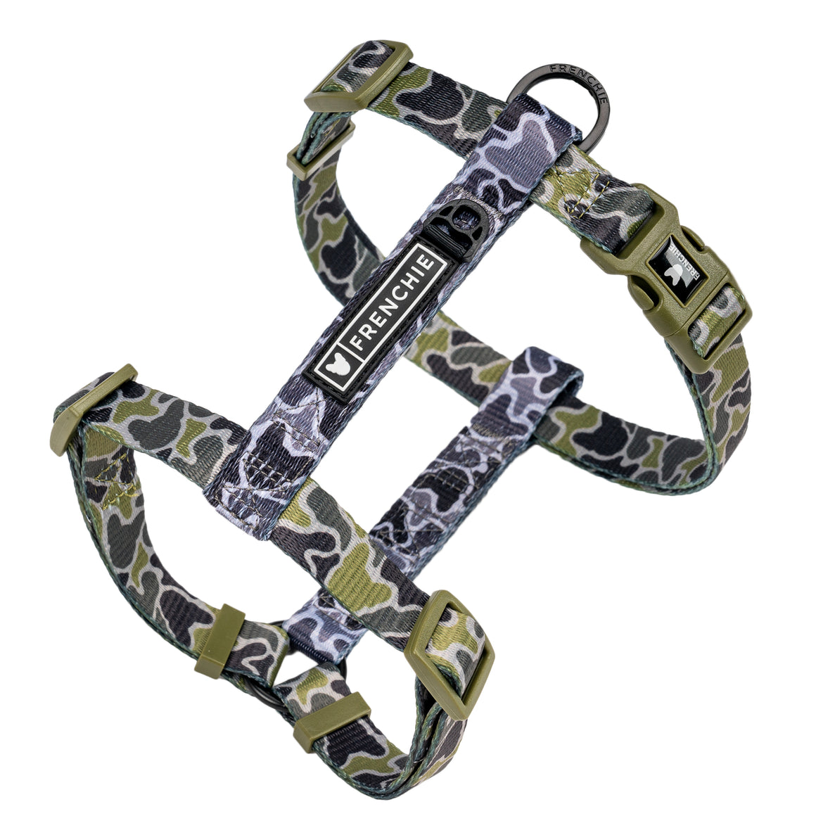 Frenchie Strap Harness - Green Frenchie Camo