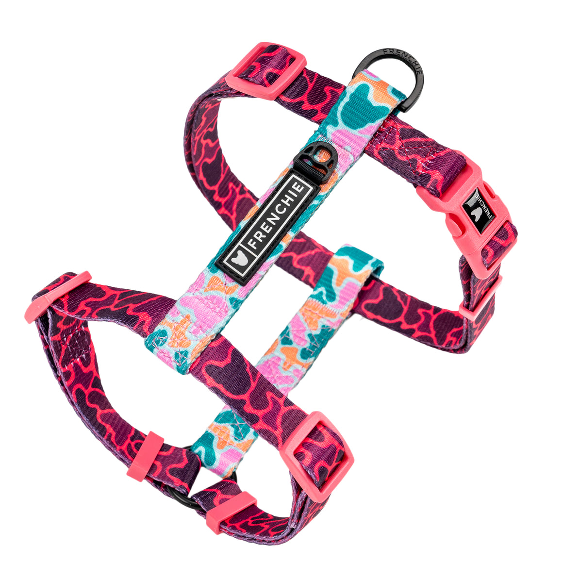 Frenchie Strap Harness - Pink Frenchie Camo