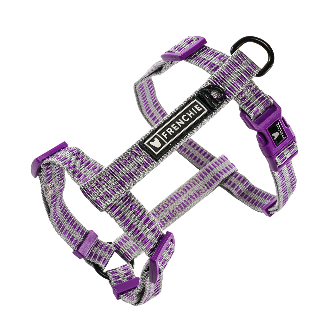 Frenchie Strap Harness - Purple and Silver