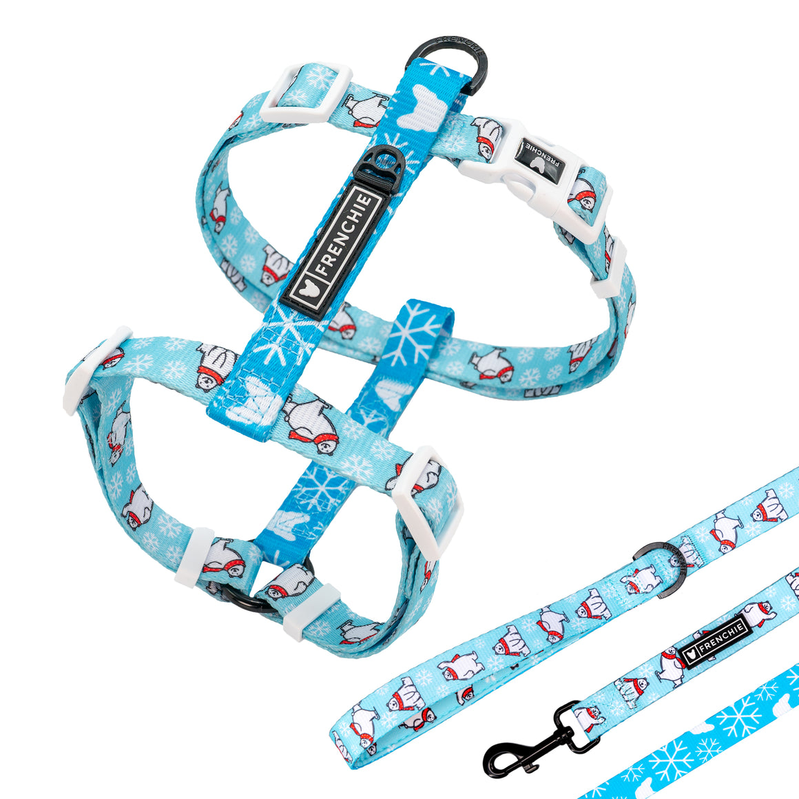 Matching Set- Frenchie Strap Harness and Comfort Leash- Polar Bear