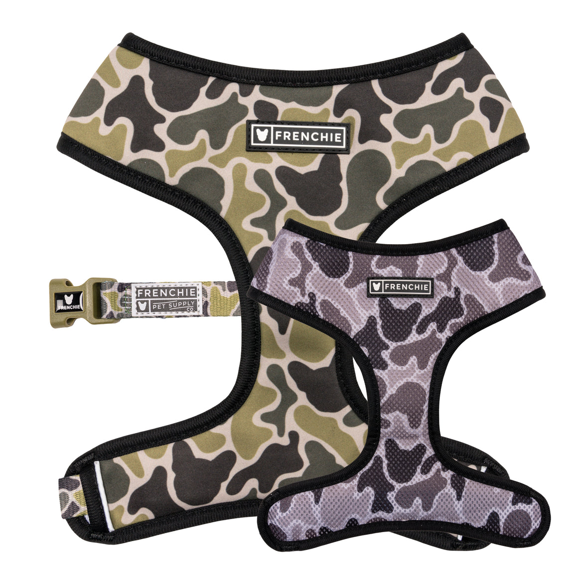 Frenchie Duo Reversible Harness - Green Frenchie Camo