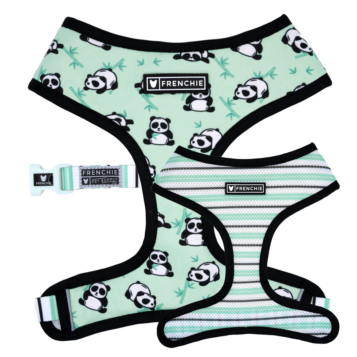 Frenchie Duo Reversible Harness - Green Panda