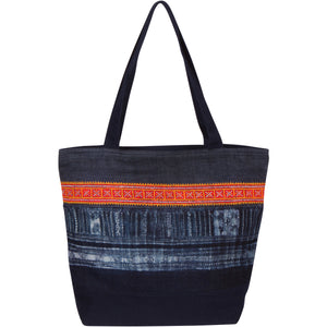 Large Indigo Hmong Tote Bag