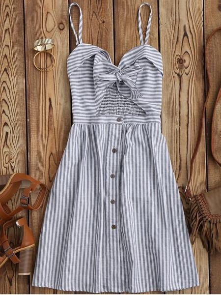 Anne Blue Sexy Striped Casual Summer Dress
