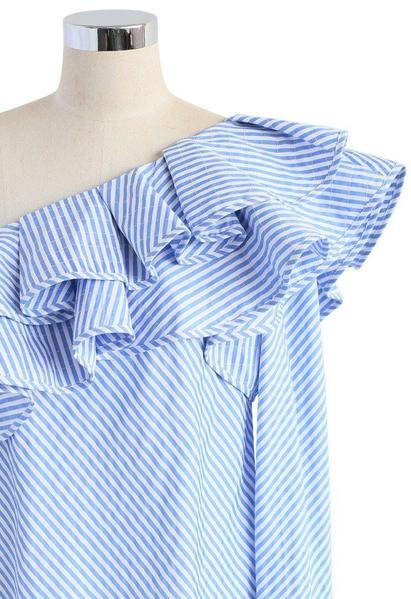 Sue Ruffled One-Shoulder Long Sleeve Stripe Blouse